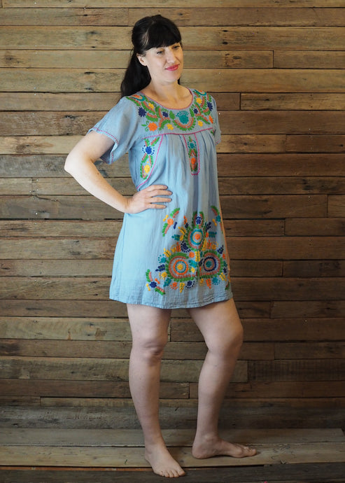 Little Frida shift Dress - Light Blue