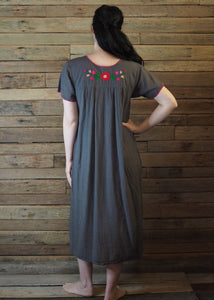 Long Frida Dress Charcoal and Pink