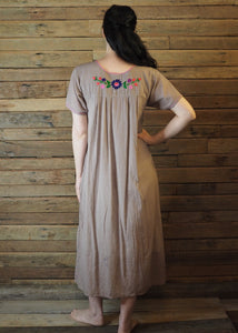 Long Frida Dress Taupe and Pink