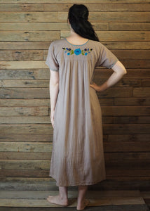 Long Frida Dress Taupe and Blue