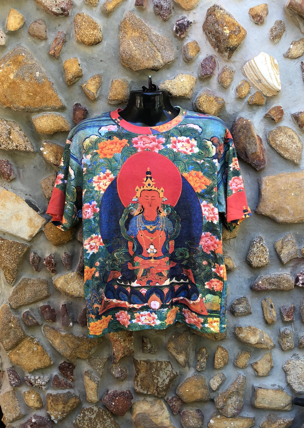 Medium Funky Tee - Buddha and Red Full Moon - Full Print