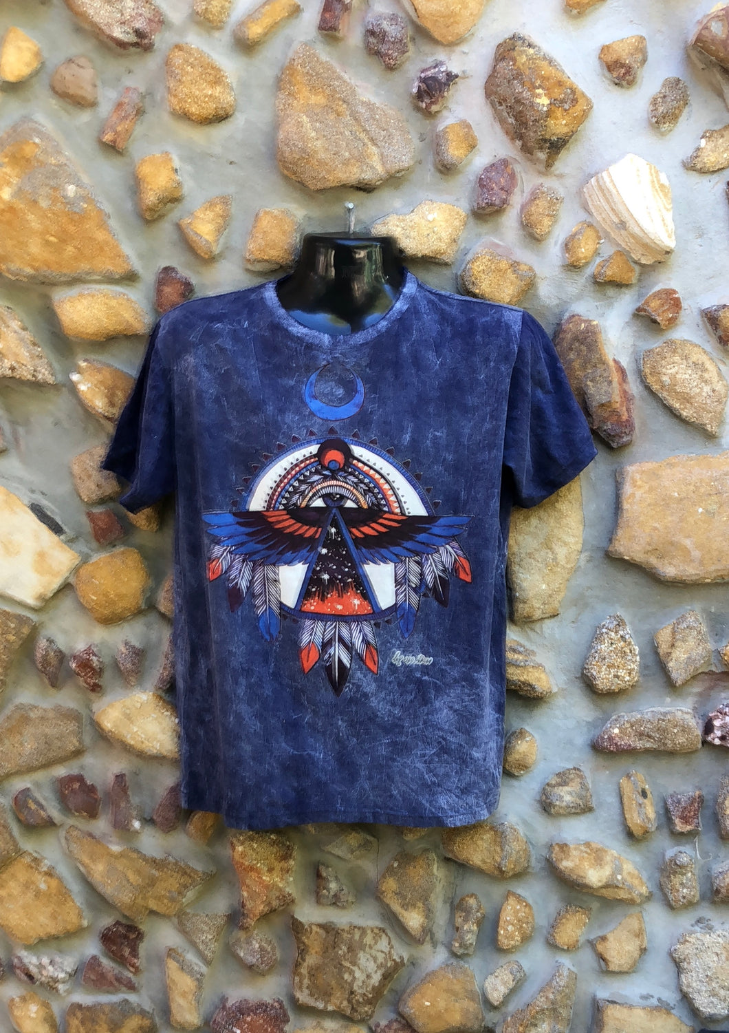 Medium Funky Tee - Eagle Totem - Navy