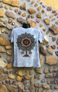 Medium Funky Tee - Eye in a Flower - Grey