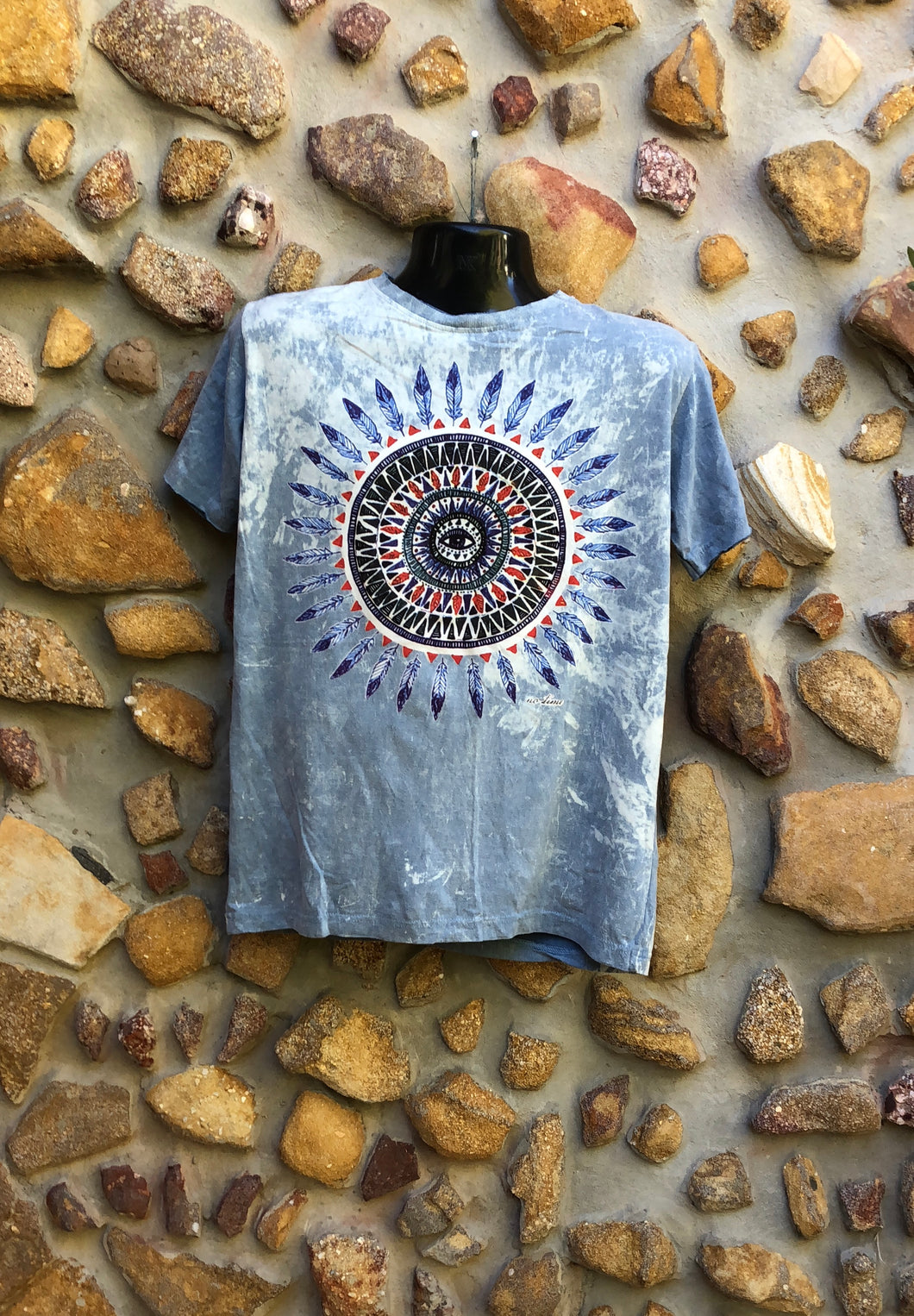 Medium Funky Tee - Feather Mandala - Grey Blue