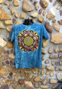 Medium Funky Tee - Flower of Life Mandala - Blue