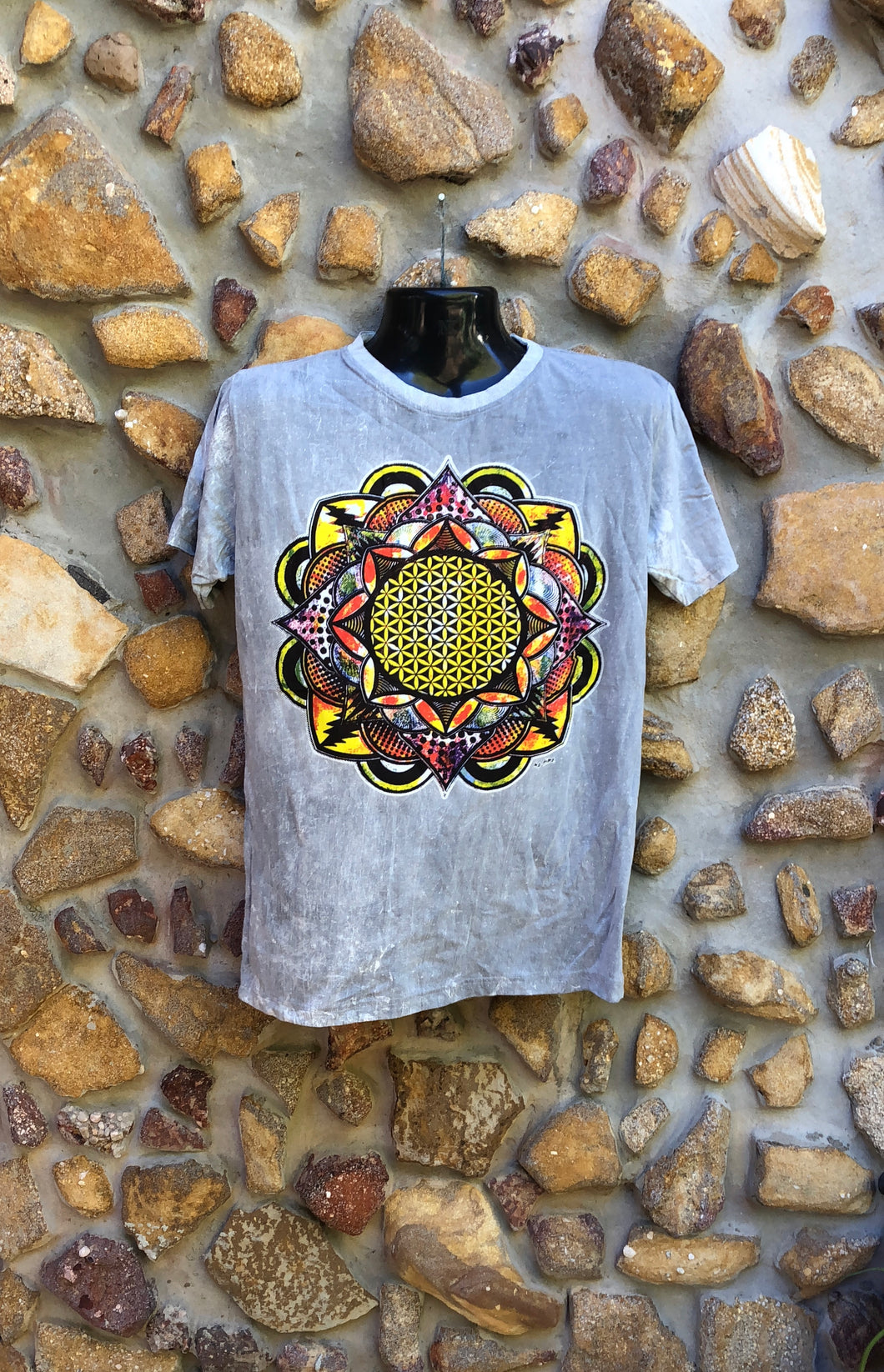 Medium Funky Tee - Flower of Life Mandala - Grey