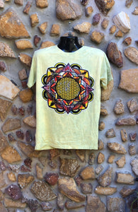 Medium Funky Tee - Flower of Life Mandala - Lemon Yellow