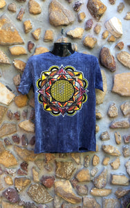 Medium Funky Tee - Flower of Life Mandala - Navy