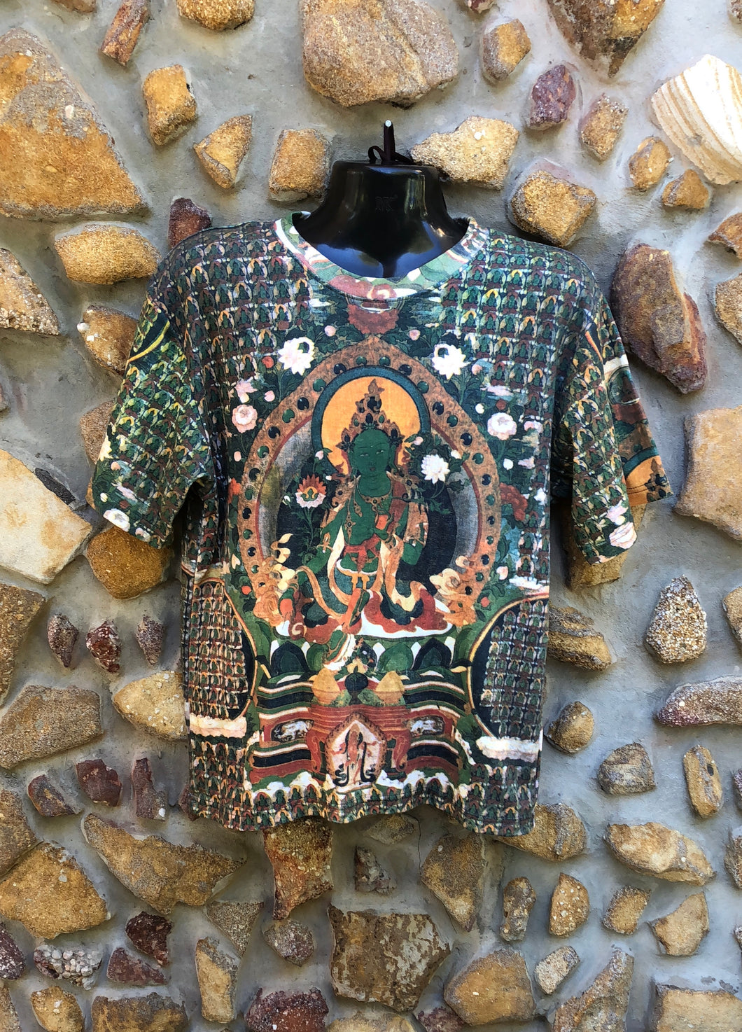 Medium Funky Tee - Green Buddha - Full Print