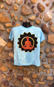 Medium Funky Tee - Orange Buddha in Lotus - Baby Blue