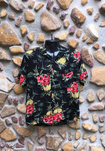 Medium Love Shirt - Red Flowers and Pineapples on Black