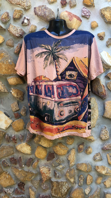 Medium Funky Tee - Kombi and Palm Tree - Light Brown