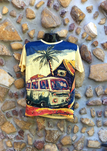 Medium Funky Tee - Kombi and Palm Tree - Yellow