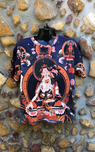 Medium Funky Tee - White Buddha on Pink Lotus - Full Print