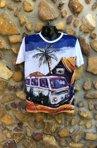 Medium Funky Tee - Kombi and Palm Tree - White