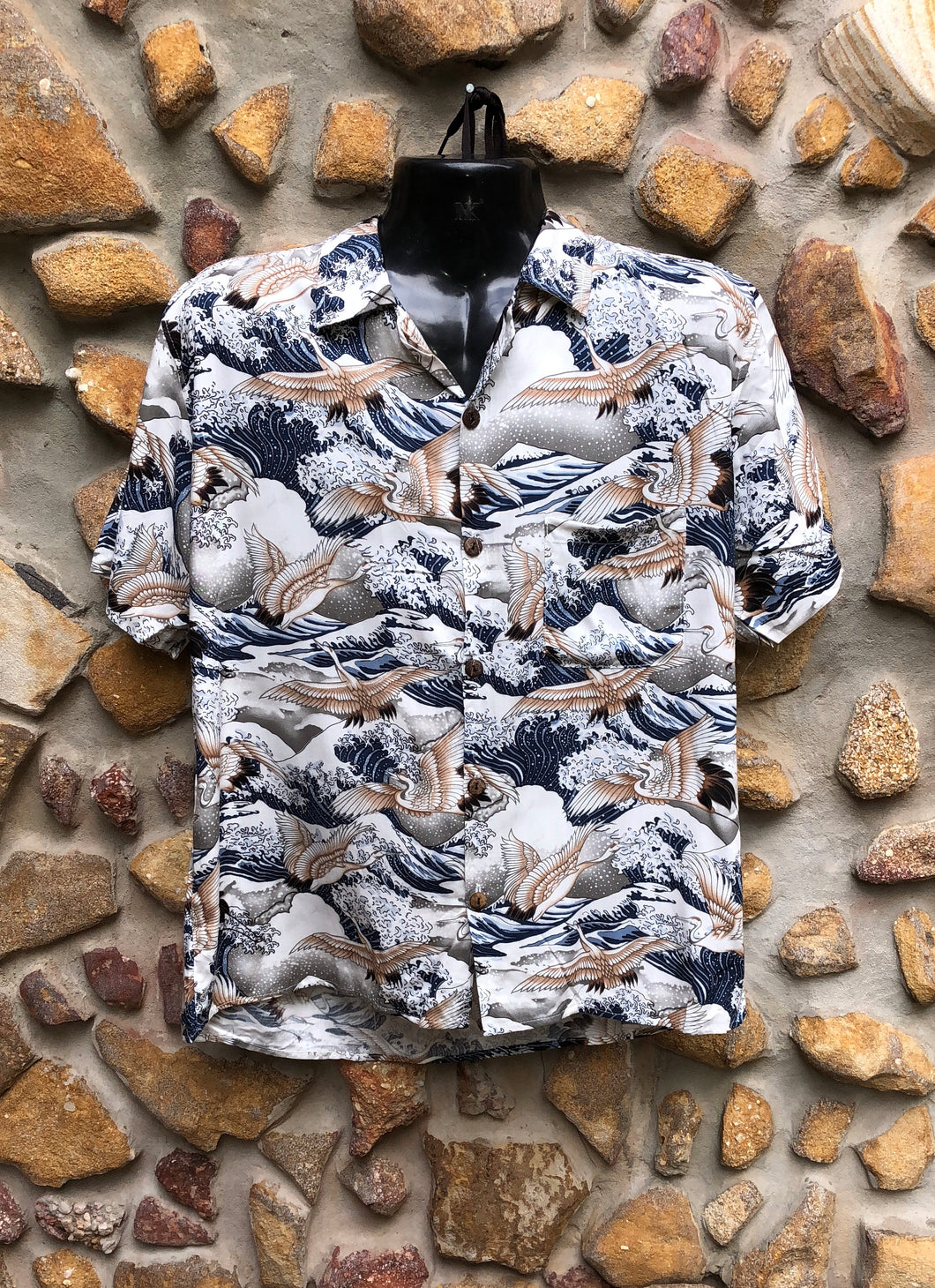 Medium Love Shirt - The Wave and Cranes Japanese Print