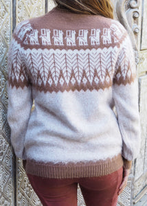 Medium - Beige Feather Knitted Bolivian Alpaca Jumper