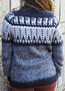 Medium - Charcoal Feather Knitted Bolivian Alpaca Jumper