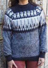 Load image into Gallery viewer, Medium - Charcoal Feather Knitted Bolivian Alpaca Jumper