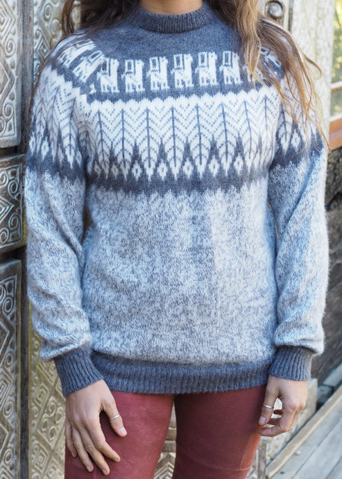 Medium - Speckled Grey Feather Knitted Bolivian Alpaca Jumper