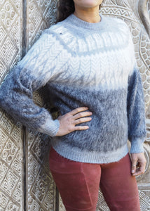Small - Smokey Grey Feather Knitted Bolivian Alpaca Jumper