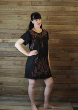 Load image into Gallery viewer, Little Frida shift Dress -winter on black