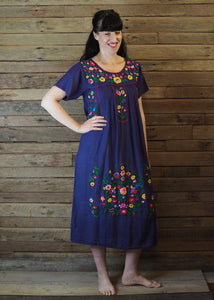 Long Frida Dress Mexican Embroidery Blue