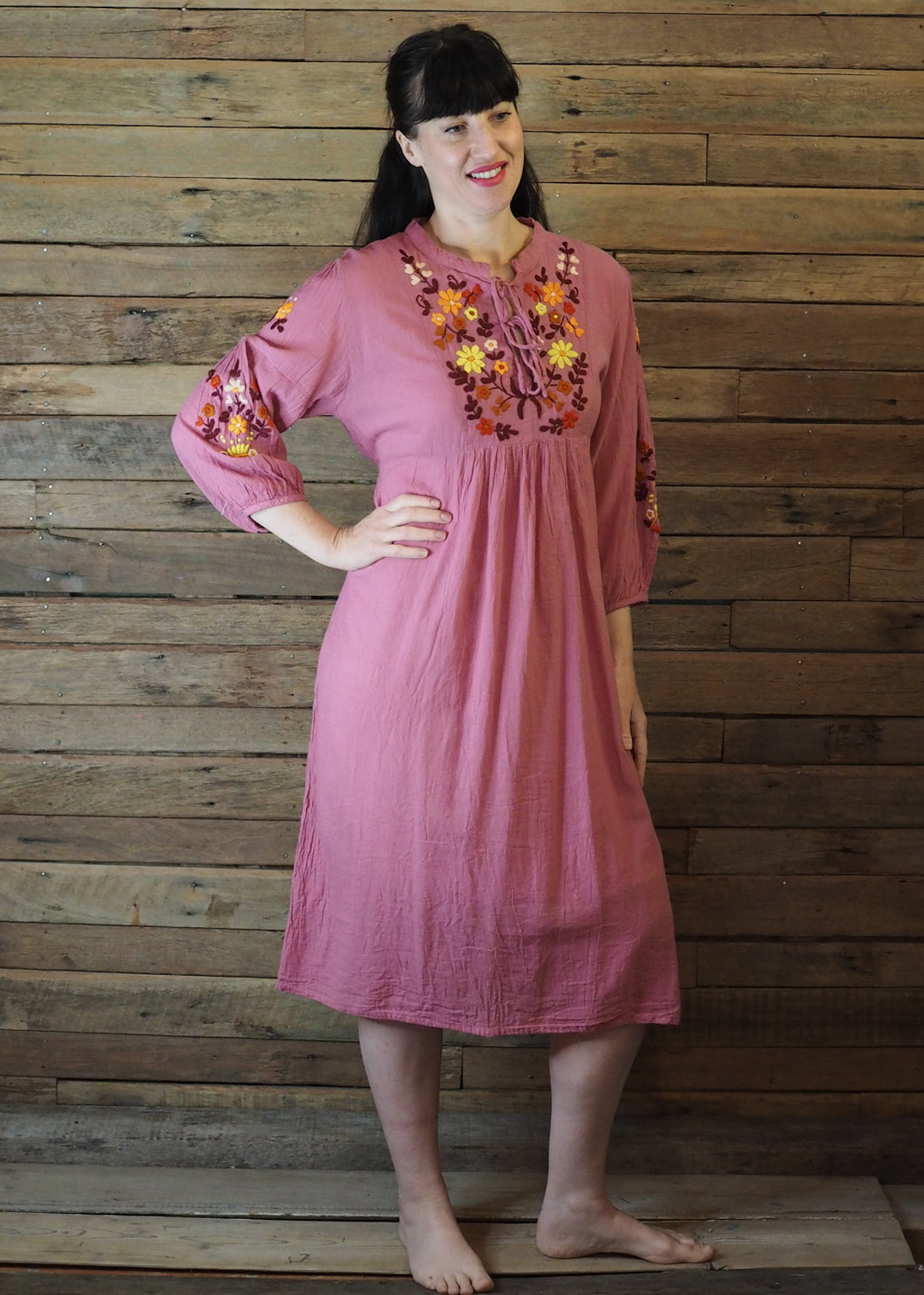 Mexicana Loose Dress Antique Pink