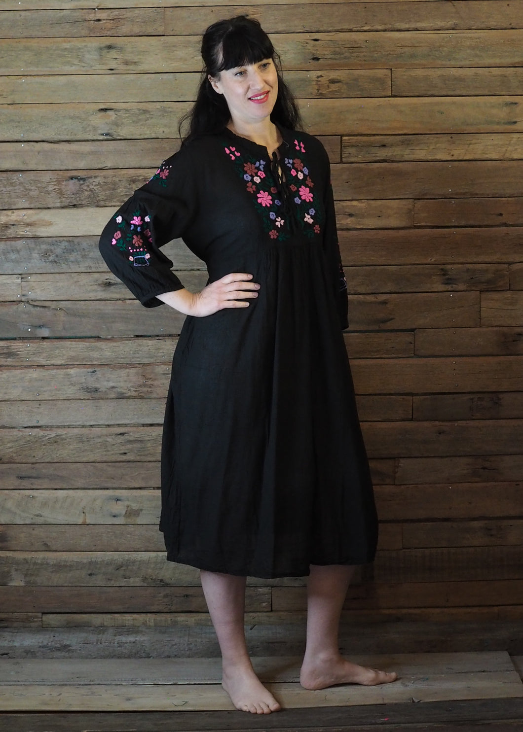 Mexicana Loose Dress Black with Pink