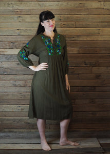 Mexicana Loose Dress Dark Avocado with Green Floral