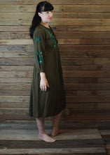Load image into Gallery viewer, Mexicana Loose Dress Dark Avocado with Green Floral