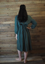 Load image into Gallery viewer, Mexicana Loose Dress Dark Forest Green with Orange