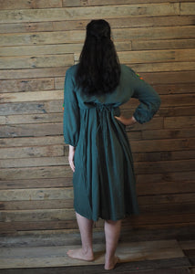 Mexicana Loose Dress Dark Forest Green with Orange