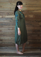 Load image into Gallery viewer, Mexicana Loose Dress Forest Green with Blue