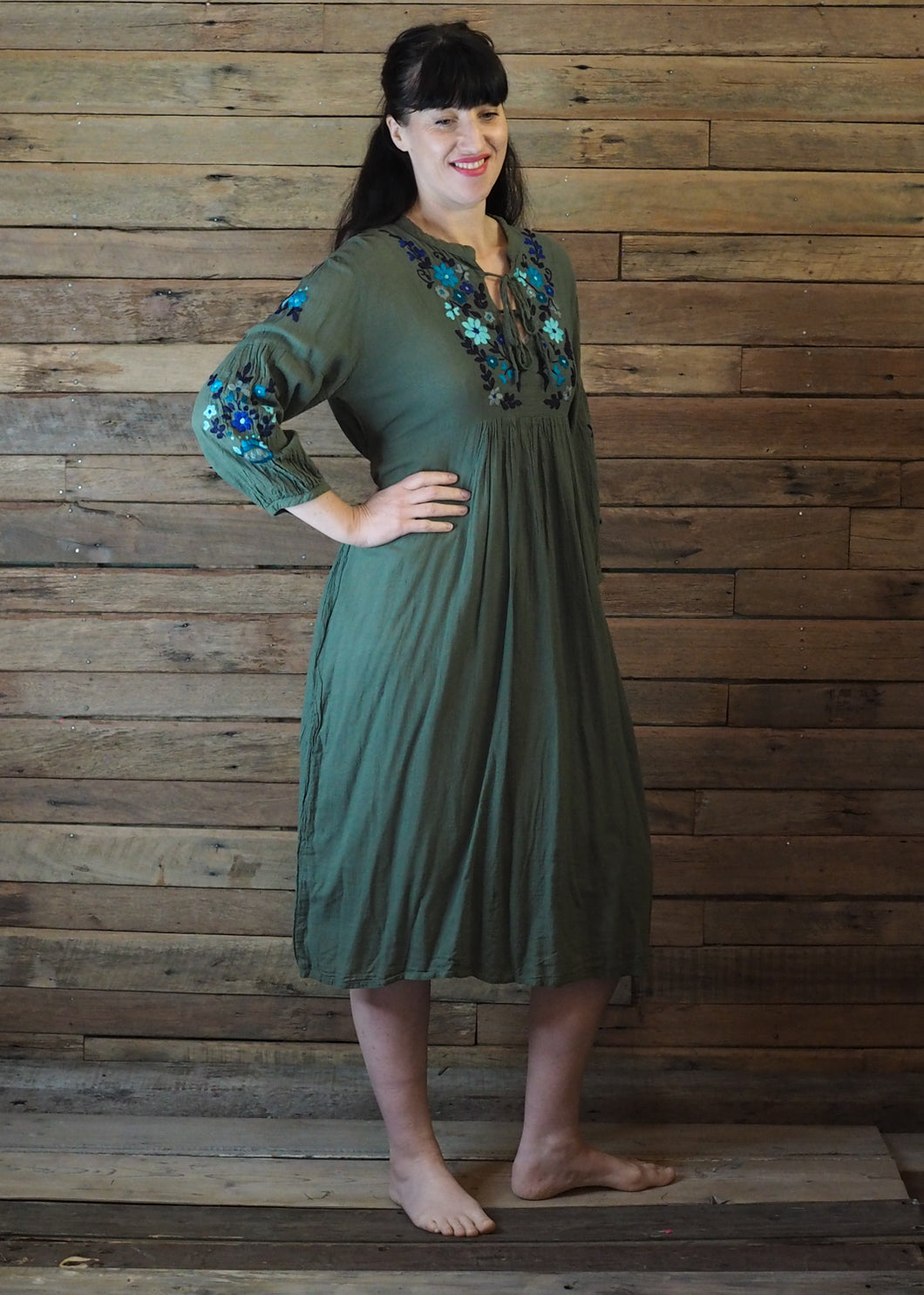 Mexicana Loose Dress Forest Green with Blue