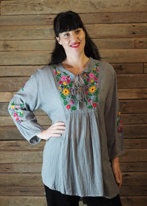 Mexicana Loose Tunic - Grey