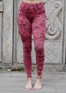 Tie dye Leggings- Mottled Burgundy
