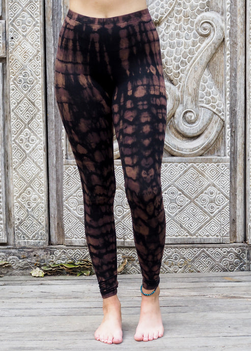 Tie dye Leggings- Mottled Mocha and Black