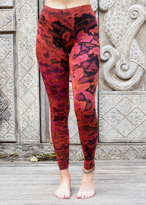 Tie dye Leggings- Mottled Pink and Orange