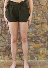 Load image into Gallery viewer, Paper-Bag Waist Cotton Shorts - Dark Khaki