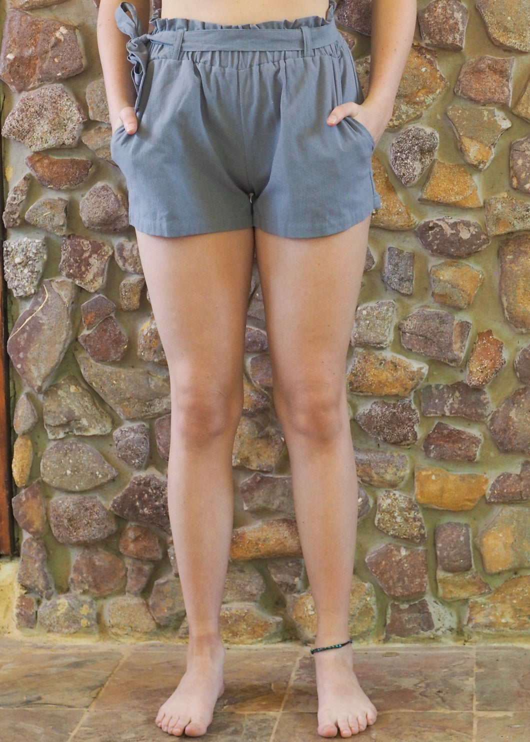 Paper-Bag Waist Cotton Shorts - Grey