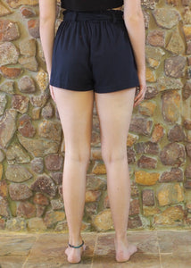 Paper-Bag Waist Cotton Shorts - Navy
