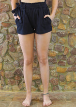 Load image into Gallery viewer, Paper-Bag Waist Cotton Shorts - Navy