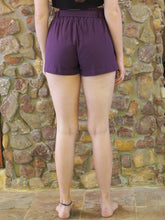 Load image into Gallery viewer, Paper-Bag Waist Cotton Shorts - Purple