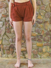Load image into Gallery viewer, Paper-Bag Waist Cotton Shorts - Rust