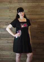 Load image into Gallery viewer, Pinafore Pocket Dress Black and Hot Pink