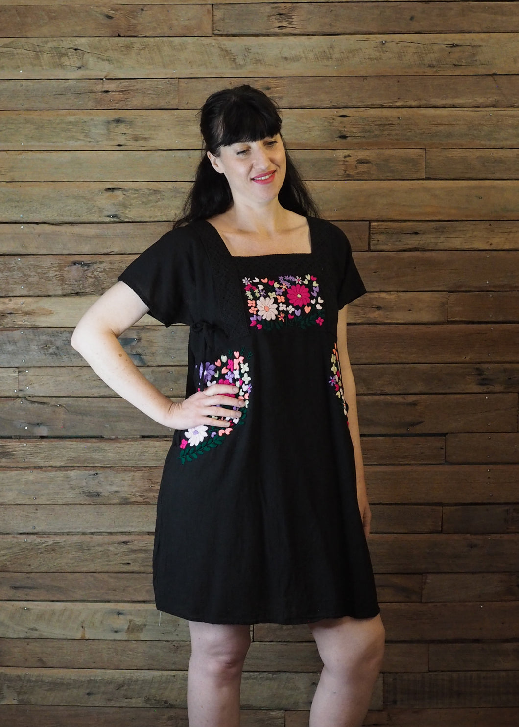 Pinafore Pocket Dress Black and Hot Pink