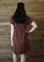 Load image into Gallery viewer, Pinafore Pocket Dress Chocolate and Blue