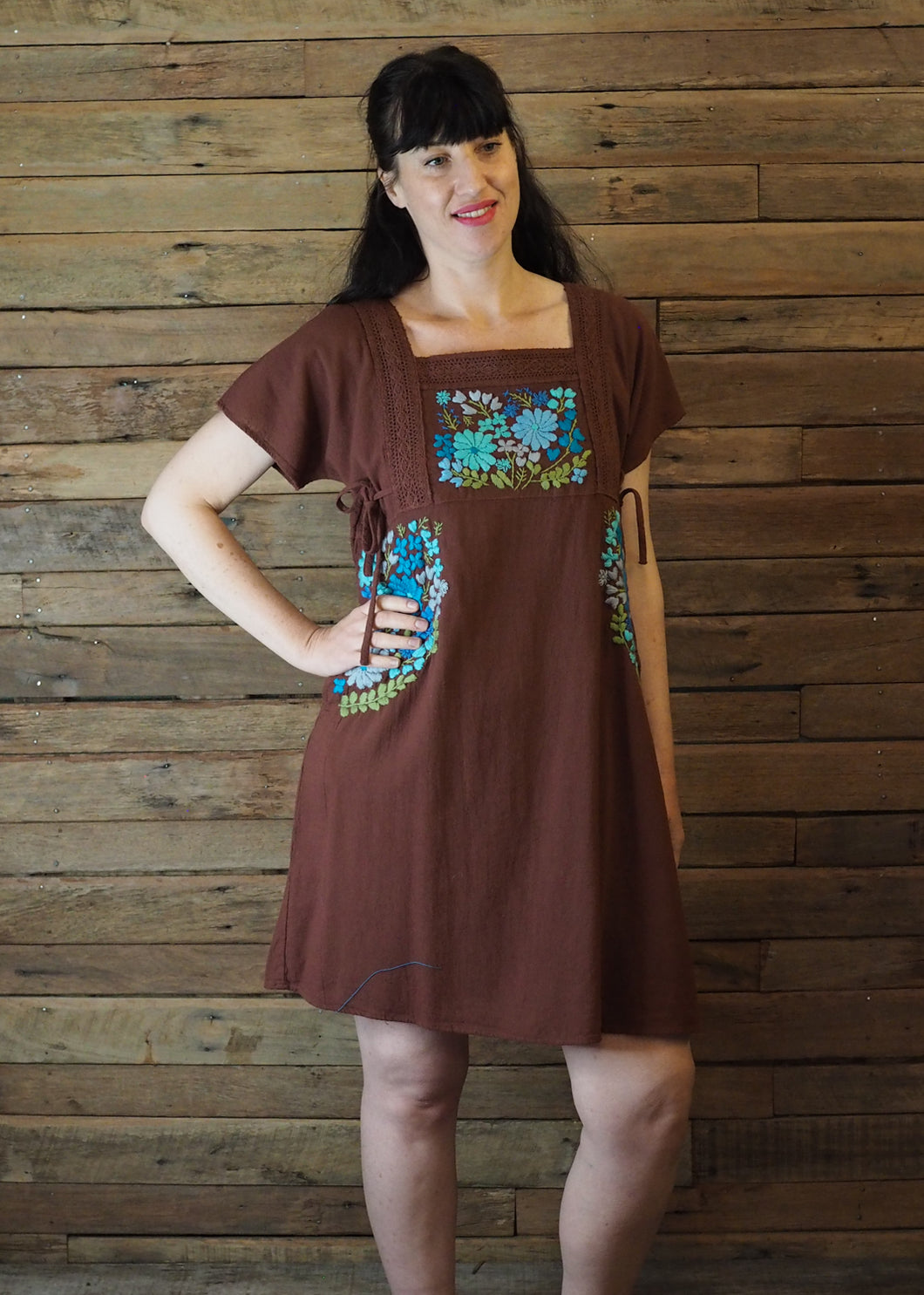 Pinafore Pocket Dress Chocolate and Blue