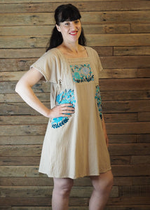 Pinafore Pocket Dress Fawn and Blue